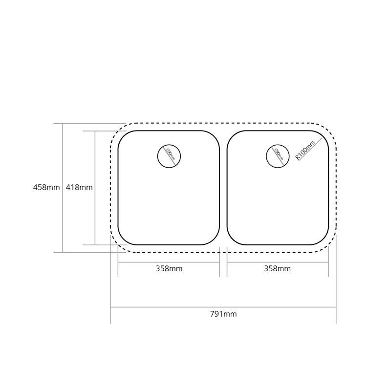 Caple Form 3636 Double Bowl Stainless Steel Undermount